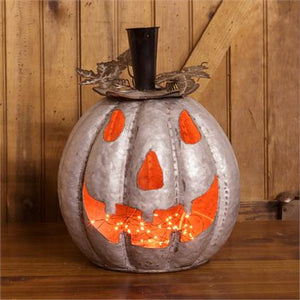 Metal Jack-O-Lantern with Rustic Leaves
