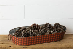 Oval Tin with Handles - Red and Black Plaid