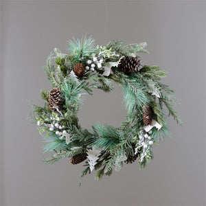 Wreath with Frosted Evergreens and White Trees/Deer