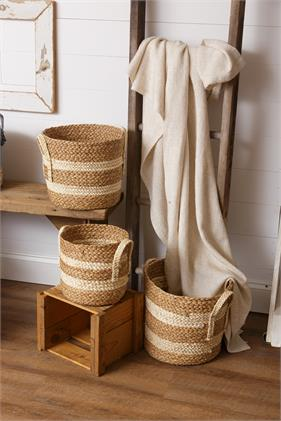 Woven Straw Basket with Handles - Small