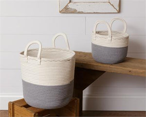 Two Tone Gray and White Rope Basket with Handles - Small