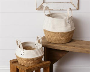 Rope and Straw Large Basket - White