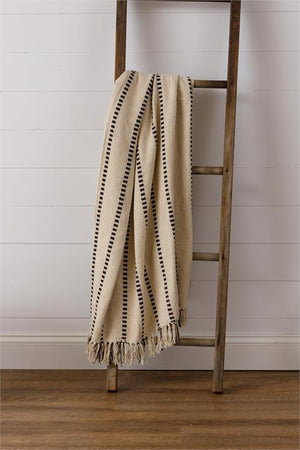 Striped Throw with Tassels - White and Black