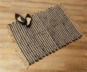"Jute Rug with Black Accents and Tassels 35""x26"""