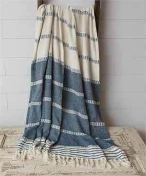 Striped Throw - Blue and White