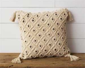 Pillow - Knitted with Black Accents and Tassels