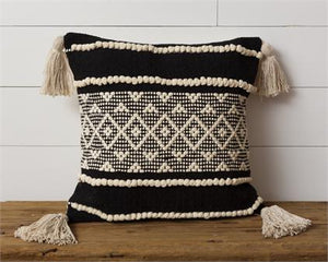 Pillow - Diamond with Tassels, Black