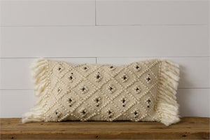 Pillow - Woven with Black Accents and Shag Fringes