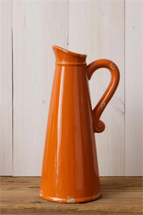 Orange Crackle Pottery Pitcher