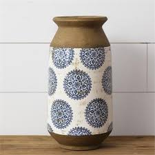 Urn - Tall White with Blue Mandala and Cement Edge