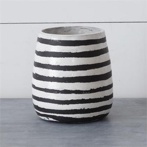 Cement Black and White Striped Crackle Finish Vase