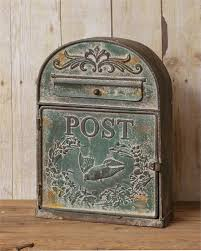 Post Box - Vintage Green Metal