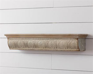 Metal and Wood Embossed Wall Shelf