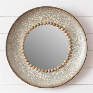 Mirror - Round Metal with Beading