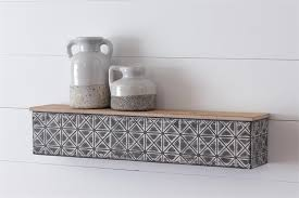 "Shelf - Embossed and Distressed Metal with Wood Top - 23"" Long"