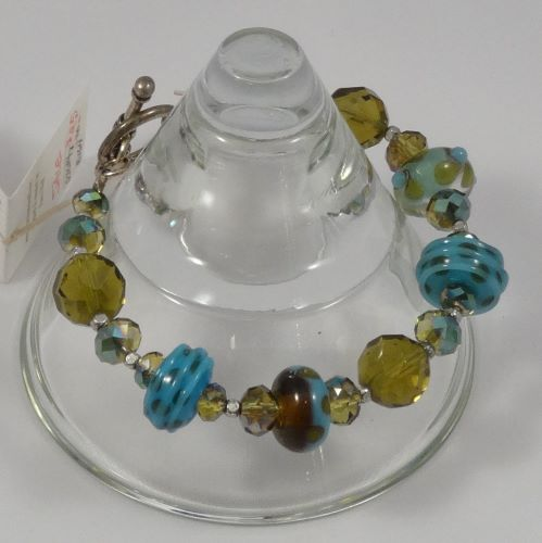 Artist Glass, Crystal Beads, Sterling Silver Bracelet