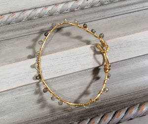 Gold Wire Wrapped Bracelet with Labradorite Stones
