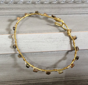 Gold Wire Wrapped Bracelet with Shell Stones
