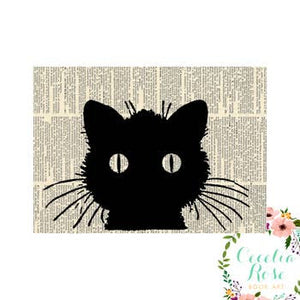 Book Art - Black Cat - 5x7 Unframed Print - Cecelia Rose Book Art