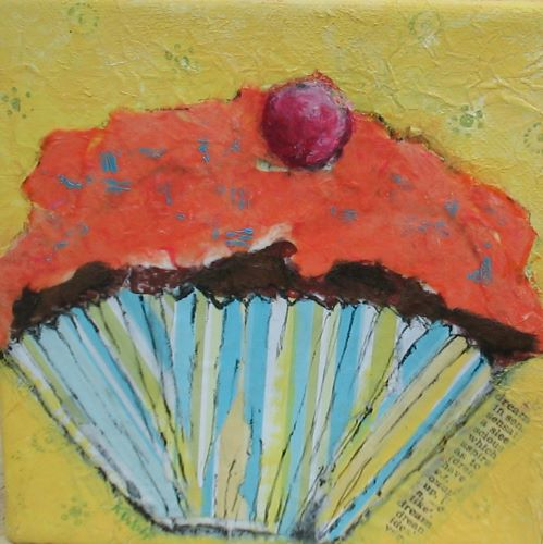 CUPCAKE III by Karen Wolf (Original Framed Art)