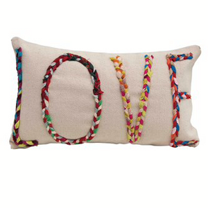 """Love"" Cotton Lumbar Pillow with Chindi Fabric Applique 24""L x 14""H"