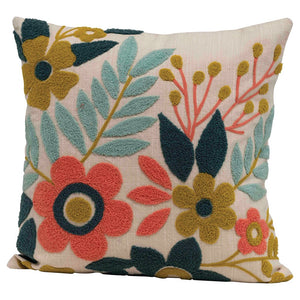 "Square Woven Cotton Floral Pillow with Embroidery, Multi Color 18"" Square"
