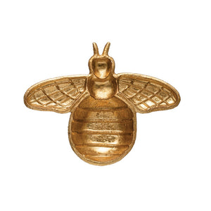 Decorative Cast Iron Bee Shaped Dish, Gold Finish DF3369