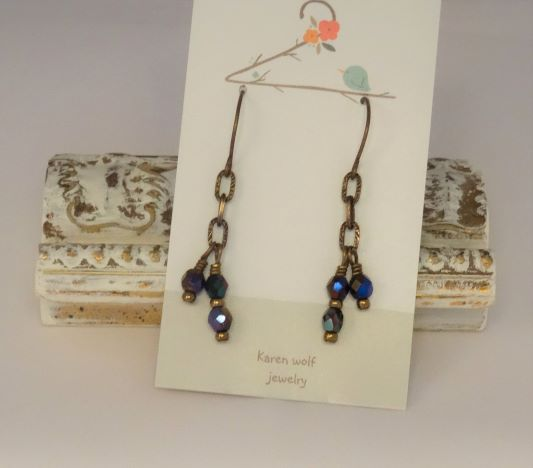 Glass Beads and Brass Chain Earrings