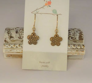 Hand Sculpted Bronze Charm Earrings