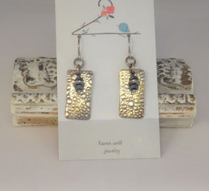 Hand Sculpted Fine Silver Charms Earrings with Hematite Gemstone Beads