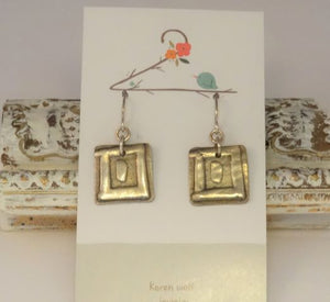 Square Sculpted Silver Charm Earrings