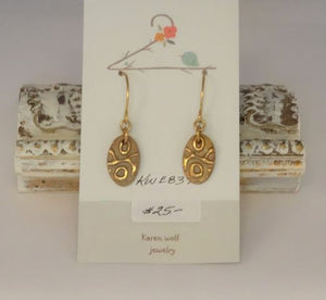 Gold Hand Sculpted Bronze Earrings