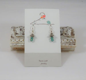 Green Swarovski Crystal & Silver Plated Beaded Earrings