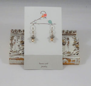Topaz Swarovski Crystal &  Silver Plated Beaded Earrings
