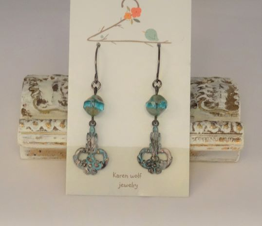 Patina Metal Charm Earrings