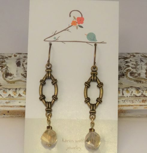 Crystal & Brass Beaded Earrings