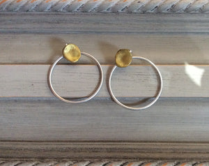 Silver Hoop Earrings with Matte Gold Post