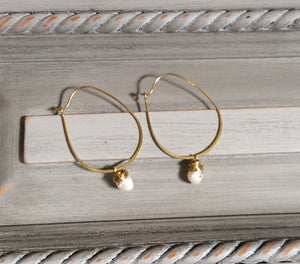 Gold Hoop Earrings with Gold Wire Wrapped Pearl