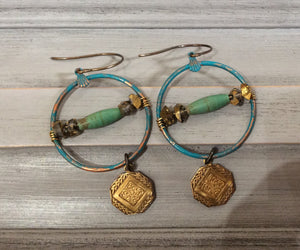 Green Hoop with Mixed Stone and Engraved Gold Disc on Natural Brass Wire