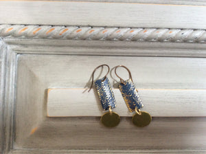 Gold and Navy Metallic Herringbone with Gold Disc Earrings