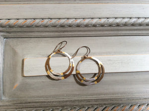 Gold and Silver Double Hoop Earrings on Natural Brass Wire