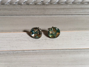 Green and Gold Resin Post Earrings