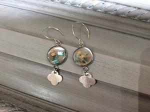 Silver and Turquoise Resin Disc with Silver Clover on Sterling Silver Wire Earrings