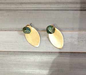Gold Leaf Earrings with Green Resin Post