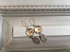 Silver and Gold Resin Disc with Silver Leaf on Sterling Silver Wire Earrings