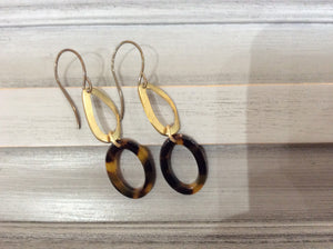 Tortoise Shell and Gold Loop Earrings on Natural Brass Wire