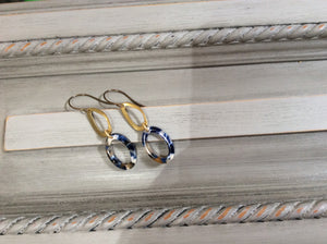 Blue Tortoise Shell and Gold Loop Earrings on Natural Brass Wire