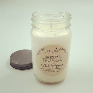 Red Sweet Chili Peppers Soy Candle by Maggie and Louise