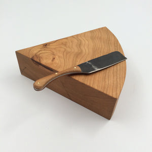 Cheese Wedge with Forged Knife -Cherry Wood