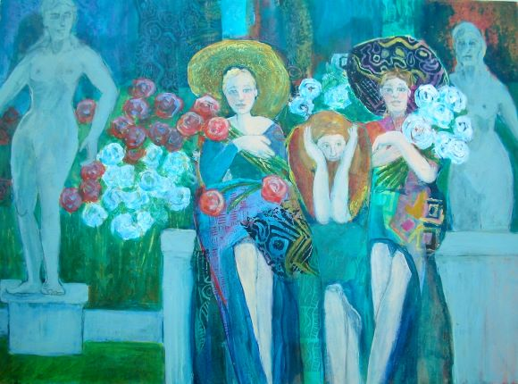 Garden Girls by Karen Wolf (Original Framed Art)
